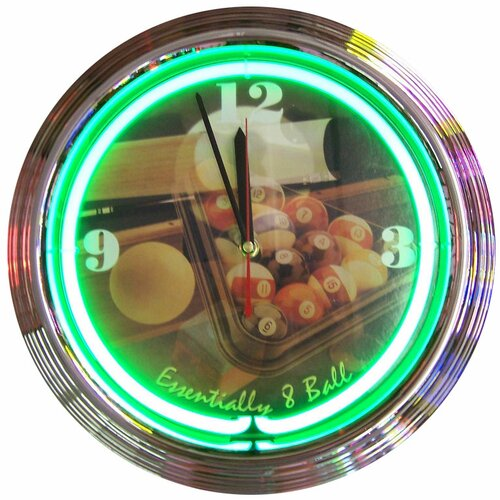 "Neonetics Bar and Game Room 15"" Essentially 8 Ball Wall Clock"