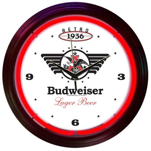 "Neonetics Drinks 15"" Retro Budweiser Wall Clock"