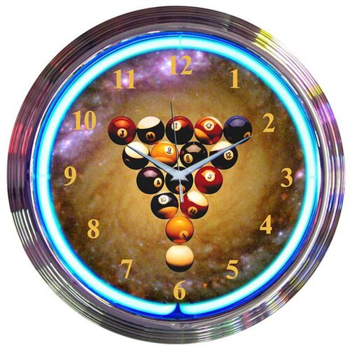"Neonetics Bar and Game Room 15"" Billiards Space Balls Wall Clock"