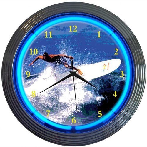 "Neonetics Sports 15"" Surfing Wall Clock"