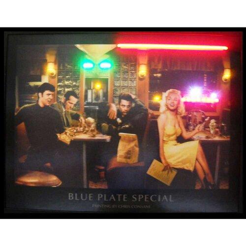 Neonetics Blue Plate Special Neon LED Framed Vintage Advertisement