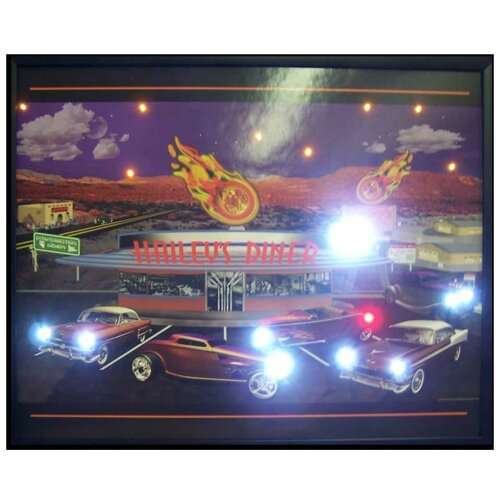 Neonetics Haileys Diner LED Lighted Framed Vintage Advertisement