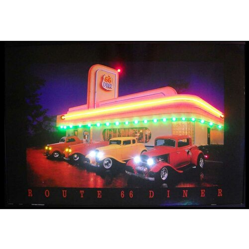 Neonetics Route 66 Diner Neon LED Framed Vintage Advertisement