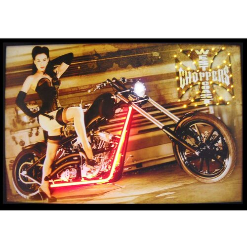 West Coast Choppers Girl Neon LED Framed Photographic Print