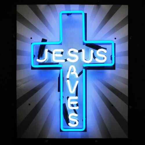 Neonetics Jesus Saves Neon Sign