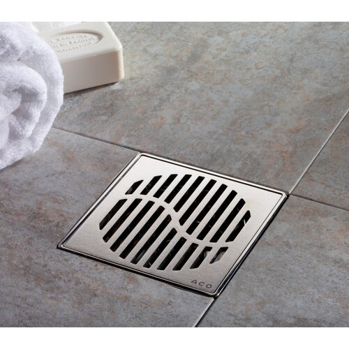 "QuARTz by ACO 6"" Wave Bathroom Shower Drain"