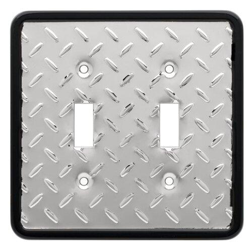 Diamond Plate Double Switch Wall Plate