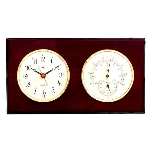 Bey-Berk Wall Clock with Thermometer and Hygrometer