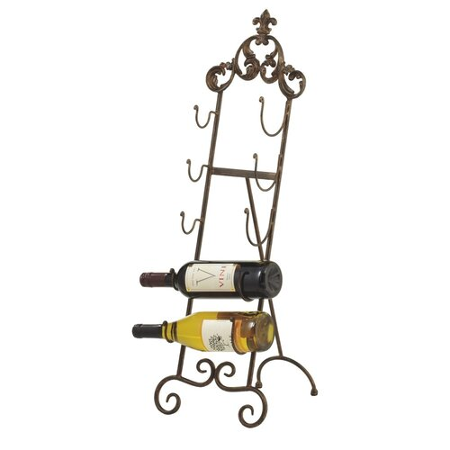 Folding Fleur de Lis 5 Bottle Wine Rack