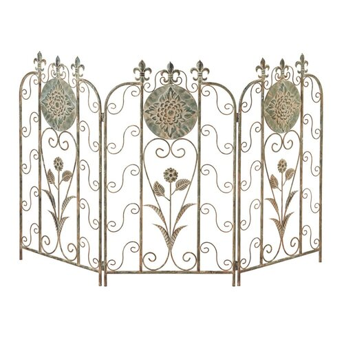 Flower Fleur de Lis 3 Panel Metal Fireplace Screen