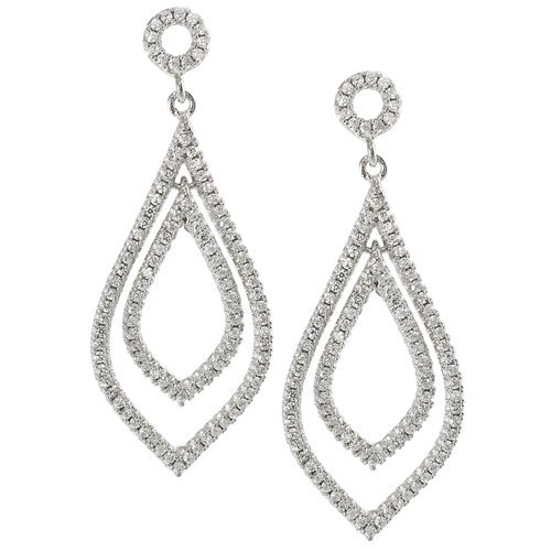 Round Cut Cubic Zirconia Dangle Earrings
