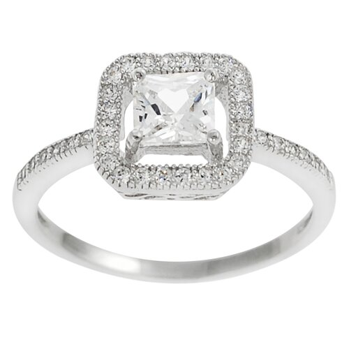 Tressa Collection Sterling Silver Square Cut Cubic Zirconia Engagment Ring