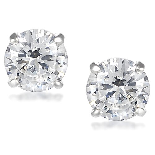 Round Cut 7mm Cubic Zirconia Stud Earrings