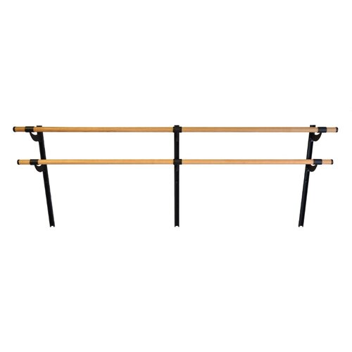 Vita Vibe Wall Barre Series Traditional Wood Double Bar Adjustable Height Ballet Barre Kit