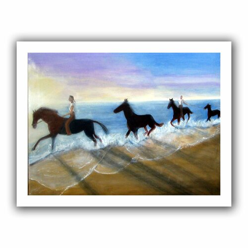 'Horses on the Beach Painting' by Lindsey Janich Canvas Poster