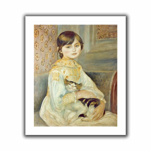 Art Wall 'Julie Manet with Cat' by Pierre Renoir Unwrapped on Canvas