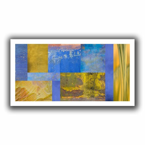 'Blue Yellow Collage' by Cora Niele Unwrapped on Canvas