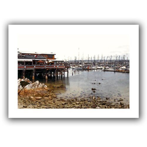 Art Wall 'Old Fishermans Wharf California' by Linda Parker Canvas Poster