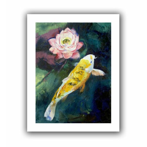 'Koi and Lotus Flower' by Michael Creese Canvas Poster