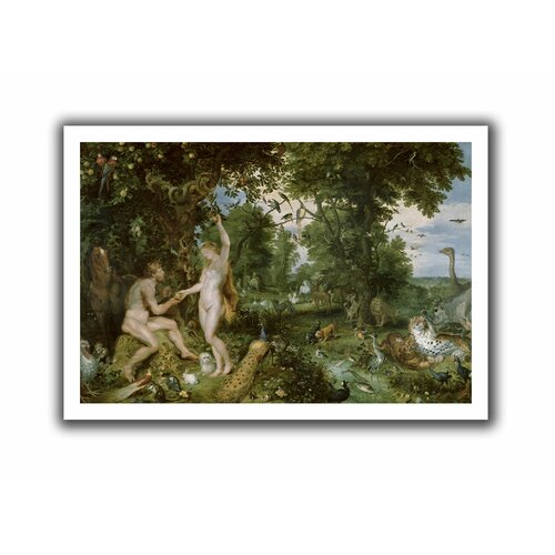 'The Garden of Eden with The Fall of Man' by Pieter Bruegel Canvas Poster