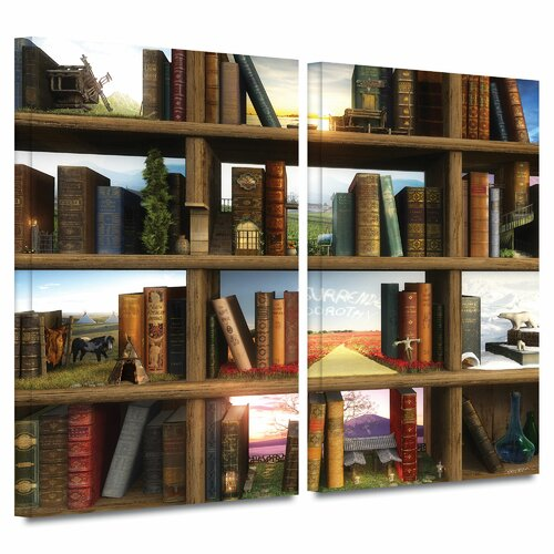 Art Wall 'Story World' by Cynthia Decker 2 Piece Graphic Art Gallery-Wrapped on Canvas Set