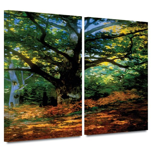 'Bodmer at Oak at Fountainbleau' by Claude Monet 2 Piece Gallery-Wrapped Canvas Art Set