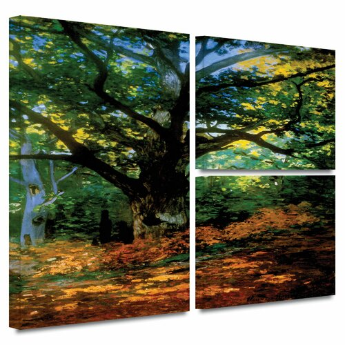 'Bodmer at Oak at Fountainbleau' by Claude Monet Flag 3 Piece Gallery-Wrapped Canvas Art Set ...