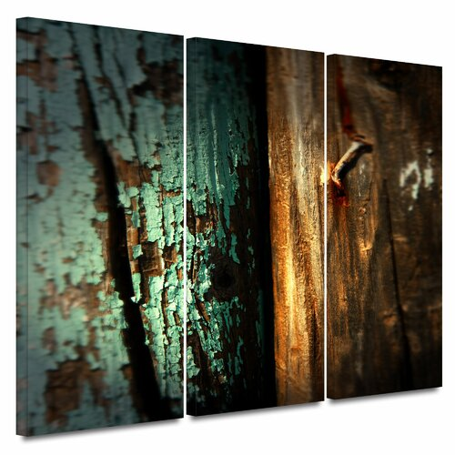 Art Wall 'Wood and Nail' by Mark Ross 3 Piece Photographic Print Gallery-Wrapped on Canvas Set