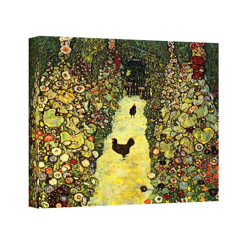 Art Wall ''Garden Path with Chickens'' by Gustav Klimt Painting Print on Canvas