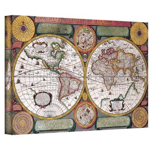 Art Wall Antique ''Description De La Terre'' Graphic Art on Canvas