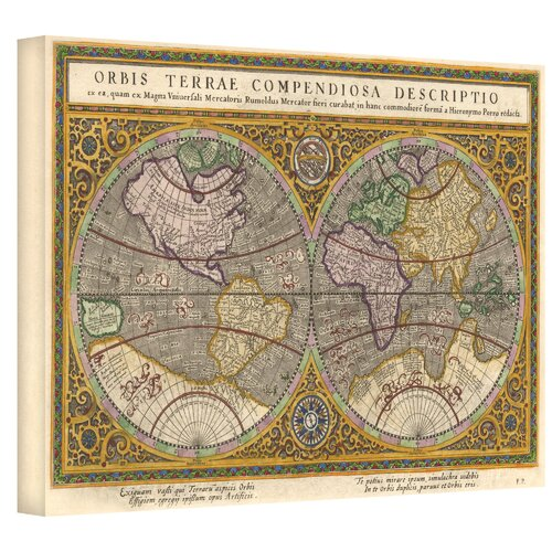 Art Wall Antique ''Orbis Terrae Compendiosa Descriptio Antique Map'' Graphic Art on Canvas