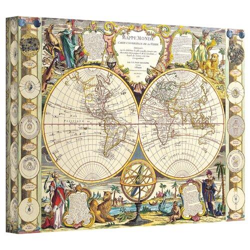 Art Wall Antique Maps 'Mappe-Monde Carte Universelle de la Terre Dressee' by Samuel Dunn Graphic Art Canvas