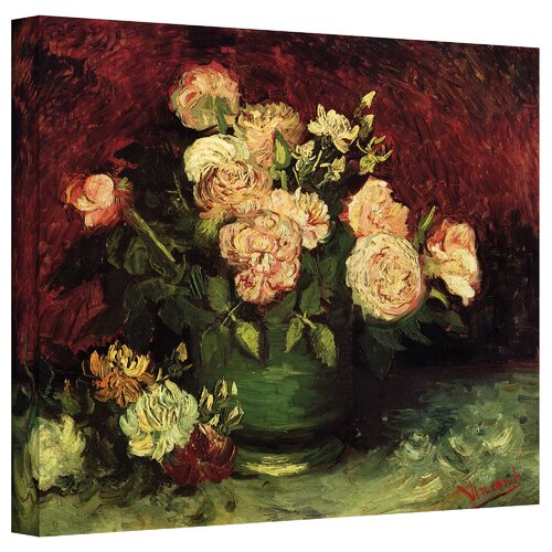 Art Wall ''Roses and Peonies'' by Vincent Van Gogh Canvas Painting Print