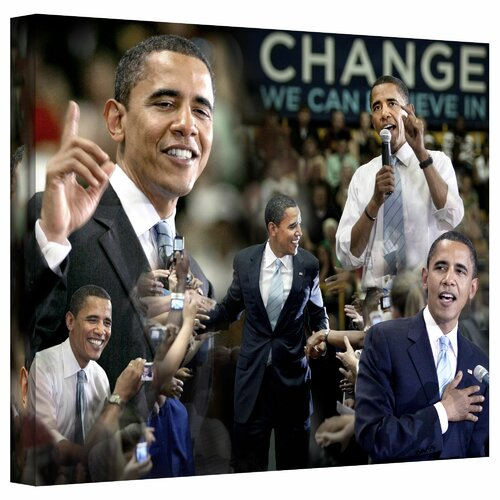 'Obama Collage II' by David Liam Kyle Photographic Print on Canvas