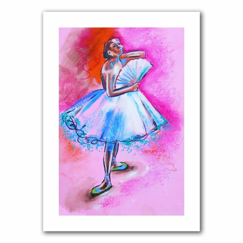 'Interpretation of Ballerina with Fan by Degas' by Susi Franco Graphic Art Canvas