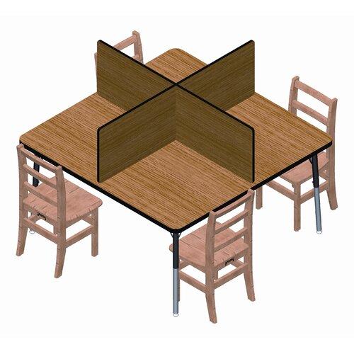 Jonti-Craft Square Laminate Study Carrel Desk with 4 Carrels