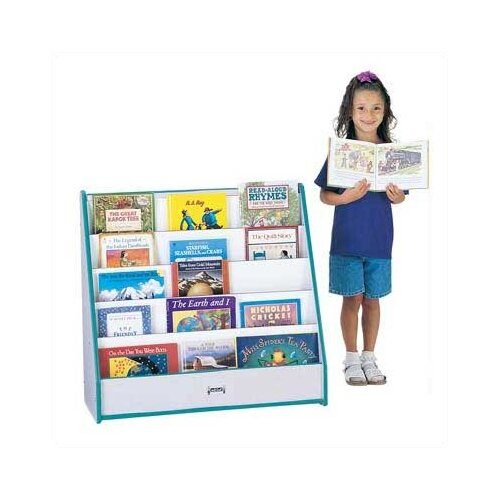 "Jonti-Craft 32"" Rainbow Accents Pick-a-Book Stand with 1 Sided Flush Back"
