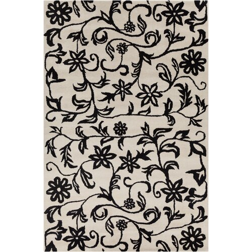 cinzia off white black floral area rug wayfair
