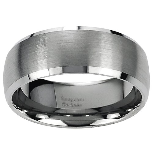 Men's Tungsten Carbide Beveled Edge Band Ring