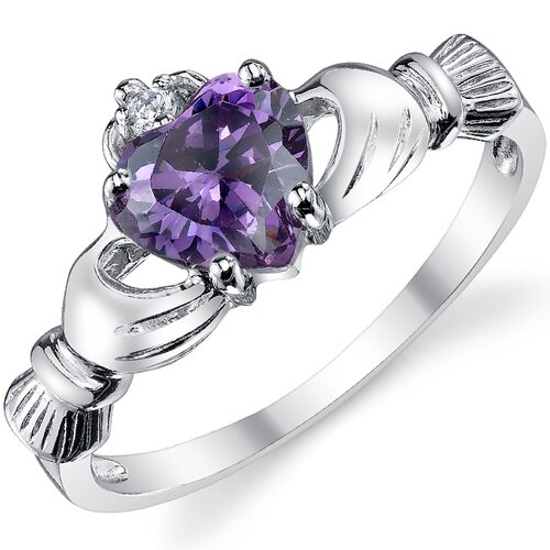 Sterling Silver Irish Claddagh Friendship and Love Cubic Zirconia/Lavender Alexandrite Ring