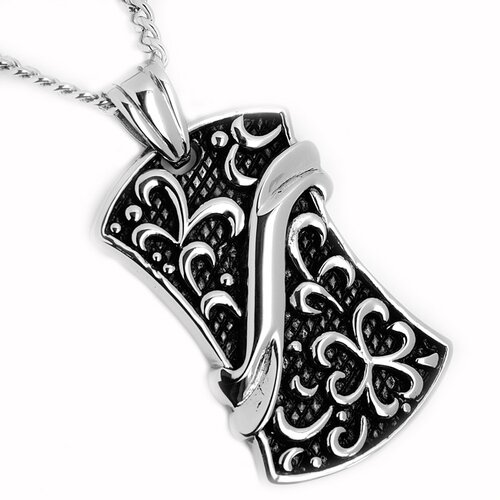 Stainless Steel Flower Dog Tag Necklace