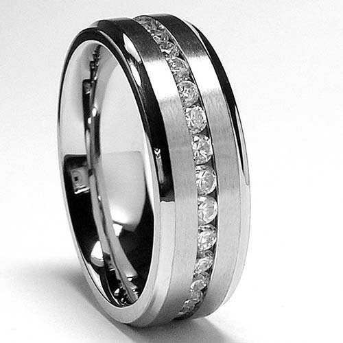 Men's Titanium Cubic Zirconia Eternity Comfort Fit Wedding Band