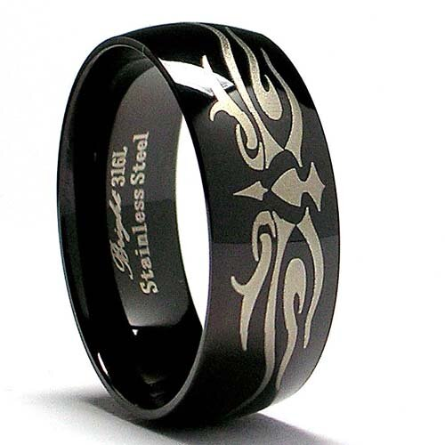 Men's Stainless Steel Laser Etched Comfort Fit Ring