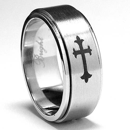Men's Stainless Steel Laser Etched Cross Spinner Ring