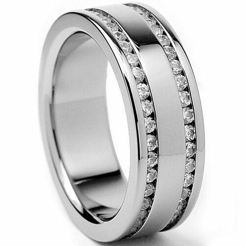 Women's Titanium Cubic Zirconia Engagement Band