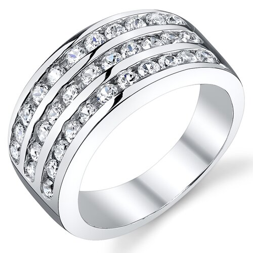 Solid Sterling Silver 925 Cubic Zirconia Wedding Ring