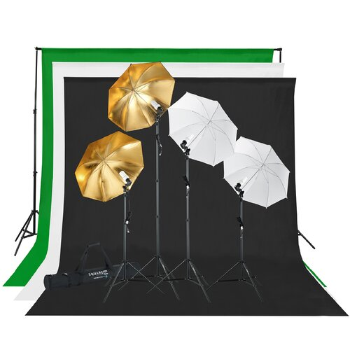 Square Perfect Photography Studio Lighting and Background Kit