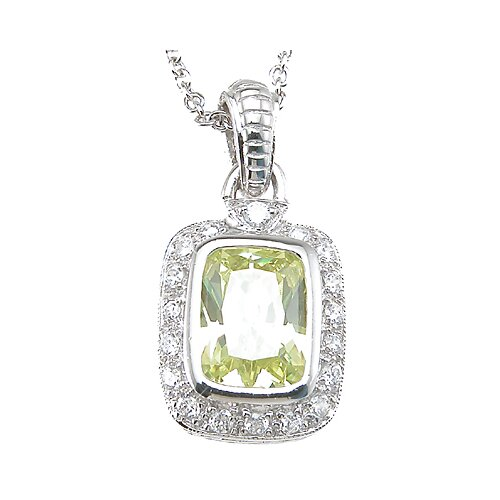 Plutus Partners .925 Sterling Silver Emerald Cut Quartz Pendant