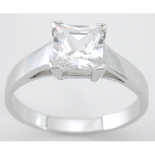 Plutus Partners .925 Sterling Silver Princess Cut Cubic Zirconium Solitaire Engagement Ring