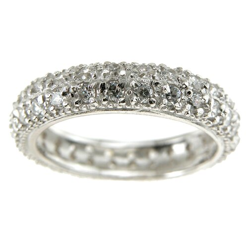 Plutus Partners .925 Sterling Silver Brilliant Cut Cubic Zirconia Eternity Wedding Band